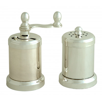Chiarugi Pepper mill and salt shaker SET, Silver Plated Brass